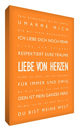 Little Helper LVDP1216-10G Feel Good Art Toile pour décoration murale avec citations en allemand Thème : « Liebe von Herzen » Typographie moderne Orange 40 x 30 cm