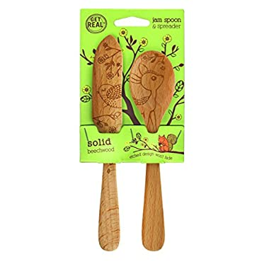 Talisman Designs 1888 Get Real Beech Wood Jam Spoon and Spreader Set, Woodland Design