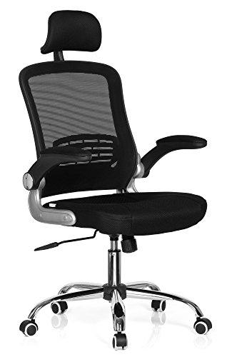 hjh OFFICE 719600 Bürostuhl VENDO NET Netzstoff Schwarz Drehstuhl ergonomisch, Armlehnen klappbar, Netzrücken, Lordosenstütze