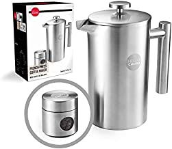 Hello Cucina French Press Coffee Maker - 34 Oz Coffee Cold Brewer - Top Quality Stainless Steel Press with Companion Glass &Portable Stainless Steel Travel Jar - A Kitchen - Camping Essential (1-Pack)