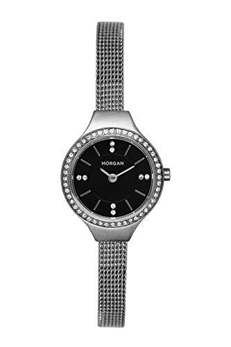 MORGAN Reloj Fecha Standard para Mujer de Cuarzo con Correa en Acero Inoxidable MG 007S-AM
