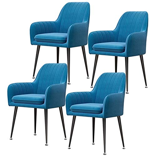 N&O Set of 4 Velvet Dining Chair with Upholstered Soft Seat with Armrests Backrest Leisure Chair Armchair for Kitchen Lounge Bedroom Living Room (Color Light Blue Size Black Legs)