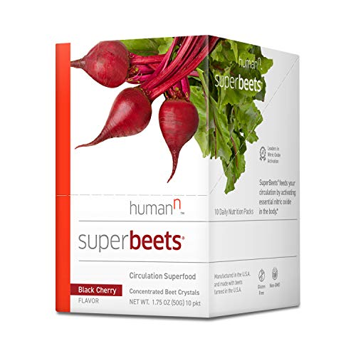 HumanN SuperBeets Circulation Superfood Concentrated Beet Powder Nitric Oxide Boosting Supplement (Black Cherry Flavor, 0.175-Ounce, 10 Packets)