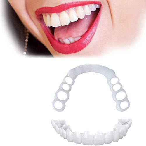 HCHQ Carillas Dientes Superior Y Inferior Dentadura simulación de Silicona Dentaduras Postizas Reales Reutilizable,1 Pairs