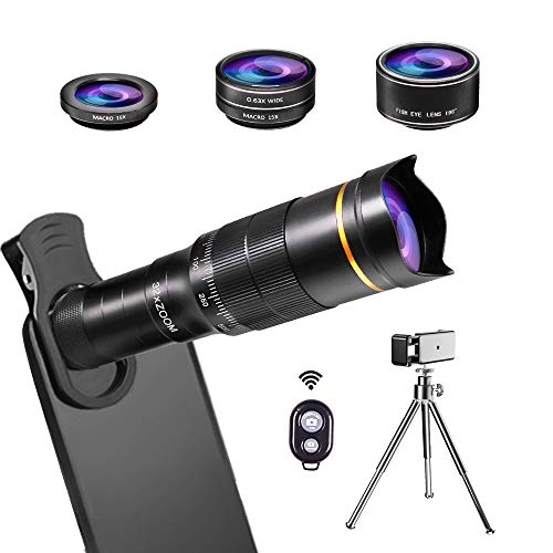 JONGSUN Kit Obiettivo per Smartphone, 4 in 1, Cellulare Telescopio Zoom 32X Lenti+ Macro + Grandangolo + Fisheye + Otturatore Bluetooth + Treppiede, per iPhone Android (32X 4in1)