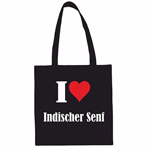 Tasche I Love Indischer Senf Größe 38x42 Farbe Schwarz Druck Weiss