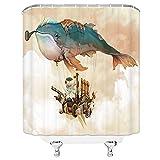 Cartoon Art Shower Curtain Smoking Whale Hot Air Balloon Dragon Boat Cannon Airship Bathroom Shower Curtain Waterproof Polyester Fabric 70x70 Inches