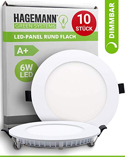 HAGEMANN® 10 x LED Panel rund dimmbar 6 Watt 540lm – Ø 105mm Bohrloch – flach 230V Spots Deckenleuchte Einbauleuchte