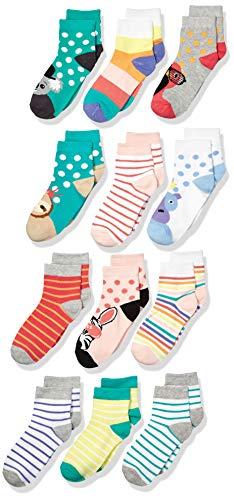 Amazon Brand - Spotted Zebra Kids Girls Quarter-Crew Socks, 12-Pack Safari Animals, X-Small