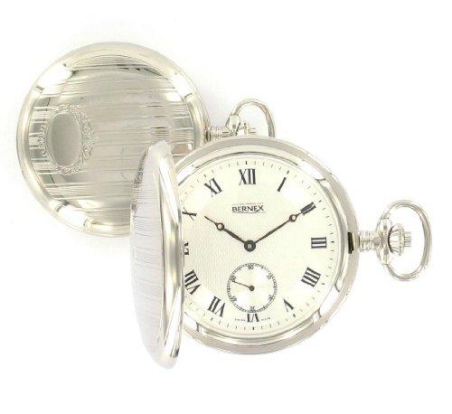 2e4f808dd3f Bernex Swiss Made Mechanical Polished Engraved Double Hunter Pocket Watch  Bn22207