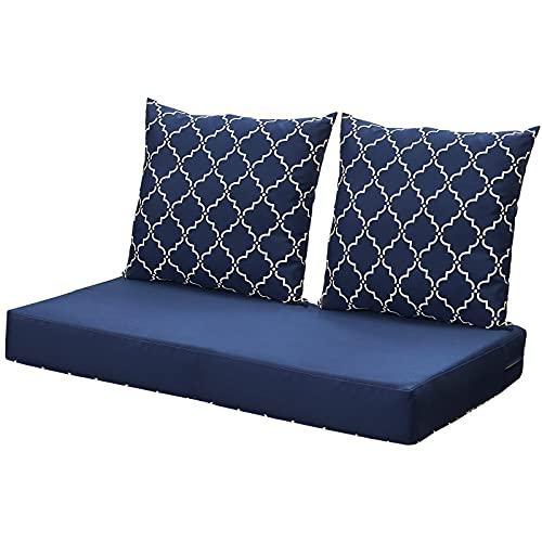 ANONER Loveseat Cushions Set Indoor Outdoor All-Weather