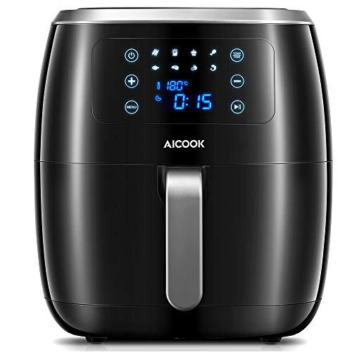 AICOOK Heißluftfritteuse, 1800W & 6L XXL Geräuschloses Airfryer Heißluft Luftfritteuse Fritteuse mit 8 Progammen, LED-Touchscreen, Rezept, Ohne Öl [Energieklasse A++]