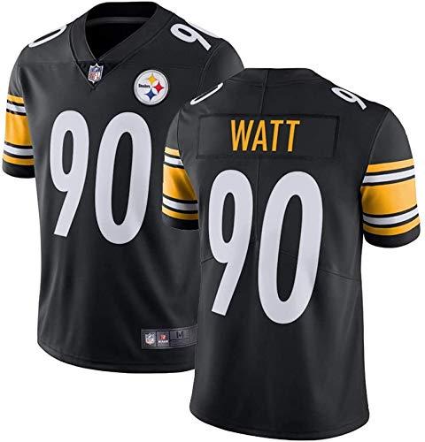 Pittsburgh Steelers 90# T.J. Watt Rugby Uniform Jerseys Camiseta de manga corta para hombre, color negro, tamaño medium