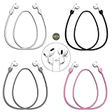 QYHOO Airpods Strap Magnetic Cord Anti-Lost Leash Sports String, 4 PCS Colorful Soft Skin-Friendly Silicone Neck Around Earphone Lanyard, Compatible with Airpods Pro/2/1 (Black Grey White Pink)