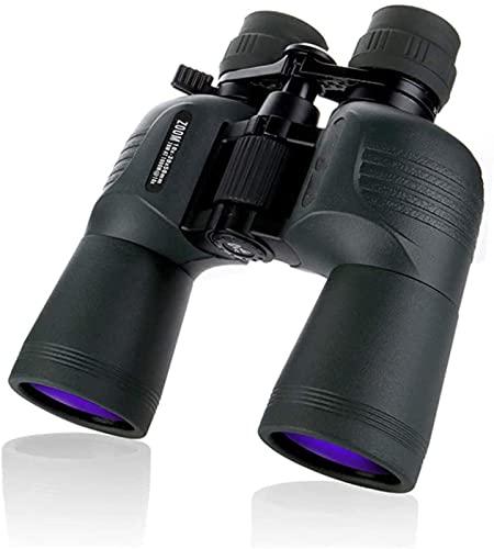 SHKUU Binoculares de Alta Potencia, 10-30X50 Binoculares BAK4 Prisma Lente óptica Telescopio de visión Nocturna con luz de Caza de Alta Potencia para Aves, para Interiores/Exteriores