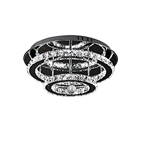 LED Crystal Ceiling Light 36 W Diamond Luster Style Brightness and Variable Intensity Color Temperature with Remote Control 30 cm(Silver)