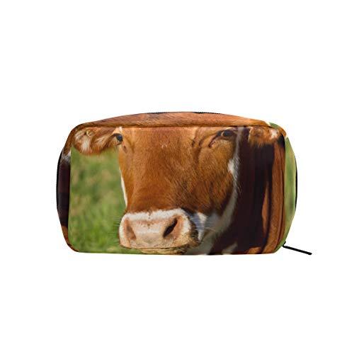 MONTOJ Trousse à maquillage zippée Motif vache Marron