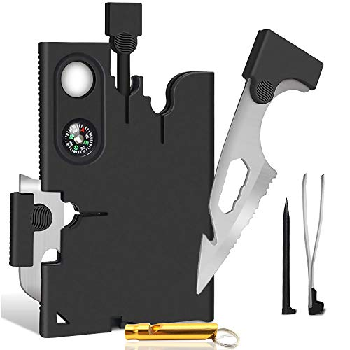Cool Gadgets18 In 1 Multitool Credit Card Tool Knife Set Pocket Wallet Survival Kit - Cool Tools Gadgets Gifts for Men Dad Him Husband Women With Blade Compass and Fire Starter