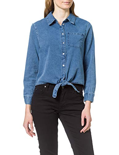 Only ONLLECEY LS Knot DNM Shirt QYT Blusas, Medio De Mezclilla Azul, L para Mujer