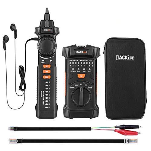 Tester de Cable, Tacklife CT03, Comprobador de Cables, Buscador de líneas RJ11 RJ45, Probador de Cable, Prueba de línea telefónica, Prueba de continuidad, LED
