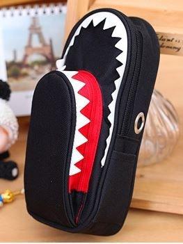 ビックリ! サメ モチーフ 鍵付き 大容量 シャーク ペンケース (ネイビー)