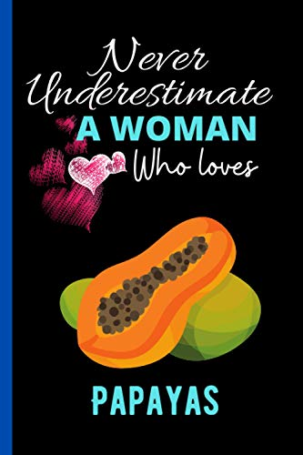 Never Underestimate A Woman Who Loves Papayas: Perfect Papayas Notebook Journal , Blank Lined Papayas Notebook Journal Gifts for Man ,Women and Girls, ... Journals, Christmas Gift Journal For Girl.