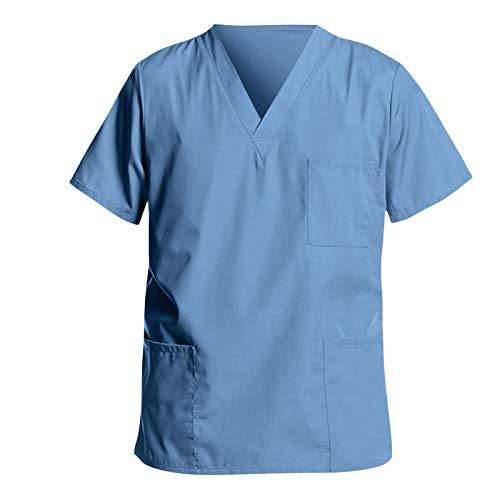 UNHU Kasack Herren Pflege Bunt Arbeitskleidung Uniformen V-Ausschnitt Schlupfhemd Berufskleidung, Einfarbig Nurse Bedruckt Kurzarm T-Shirts Top Schlupfkasack mit Taschen