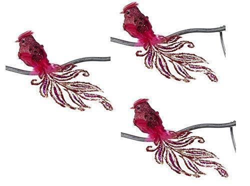 Goodwill: Kerstmis Rode Paradijs Veer Vogel op een Clip 18 Centimeter Set van 3