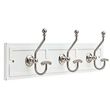 Liberty 22 inch Stylish Wall Mounted White and Satin Nickel Wardrobe Hook Rail / Coat Rack with 3 Pretty Dual Hanger Hooks for Coats, Hats, Scarves, Key • Extra Wide Hanging Space