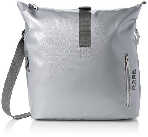 BREE Unisex-Erwachsene Punch 715, Shiny, Messenger S18 Schultertasche, Silber (Silver), 14x30x40 cm
