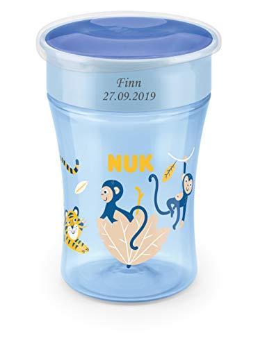 NUK Magic Cup Trinklernbecher mit persönlicher Gravur, auslaufsicherer 360°-Trinkrand, 8+ Monate, BPA-frei, 230 ml, Tiger & Affe (blau)