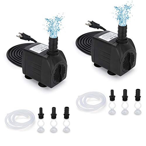 GROWNEER 2 Packs 550GPH Submersible Pump 30W Ultra Quiet Fountain Water Pump, 2000L/H, with 7.2ft High Lift, 3 Nozzles, 4.9 Feet Tubing for Aquarium, Fish Tank, Pond, Hydroponics, Statuary