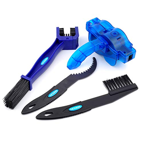 BOBILIFE Bike & Motorcycle Chain Cleaning Brush - Bicycle Gear Chain Cleaner Maintenance Tools Kit, 4 Tools (Blue with Scrubber)