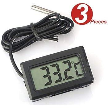 WINGONEER 3Pcs Thermomètre Digital LCD Moniteur de température avec sonde externe Pour Réfrigérateur Congélateur Réfrigérateur Aquarium Black
