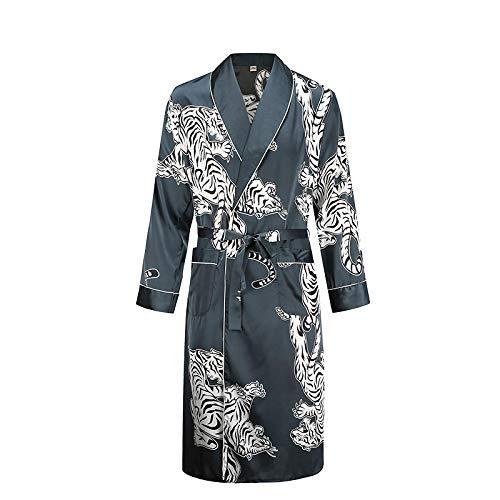 Bata para Hombre, Camisón De Manga Larga, Kimono, Bata De Baño, Satén Sedoso,Estampado De Dragón, Pijamas, Ropa De Dormir, Ropa De Dormir, Vestido Informal