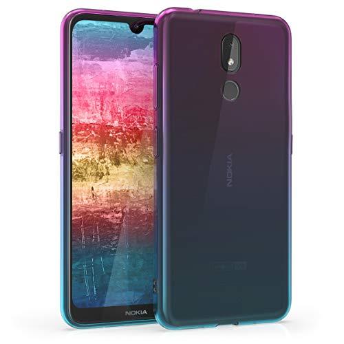kwmobile Hülle kompatibel mit Nokia 3.2 (2019) - Handyhülle - Handy Case Zwei Farben Pink Blau Transparent