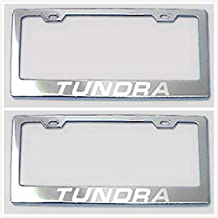 Tuesnut 2X Stainless Steel Tundra Silver License Plate Frame Covers Holder Screws Caps Rust Free