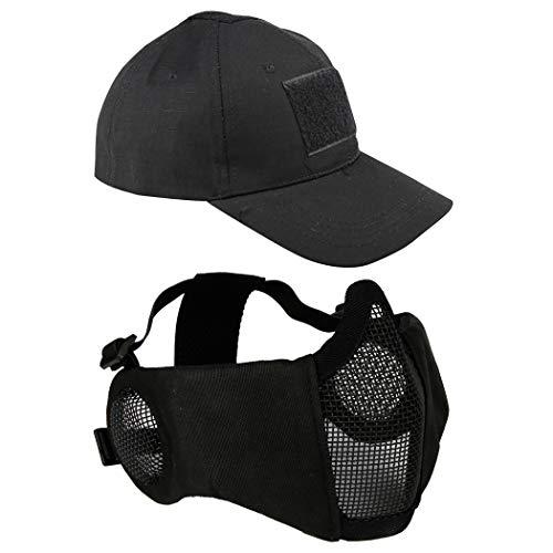 Aoutacc Airsoft Mesh Maske mit Ohrenschutz und verstellbarem Baseball Cap Set für CS/Jagd/Paintball/Shooting, Schwarz