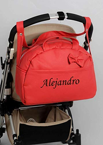 danielstore- Bolso Carro Bebe Personalizado Acolchado con Nombre Bordado. Color Rojo