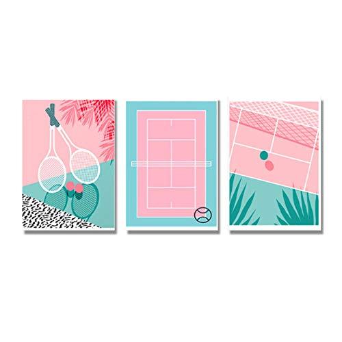 agwKE2 Nordic Style Cute Poster Pink Baseball Field Baseball Bat Canvas Painting Wall Art Print For Living Room Home Decor 40x60cmx3 unframed