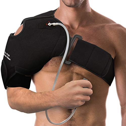 NatraCure Hot/Cold & Compression Shoulder Support 6032 - (Left/Right Shoulder Brace) - (For Shoulder Sprains, Strains and Post Rotator Cuff Surgery)