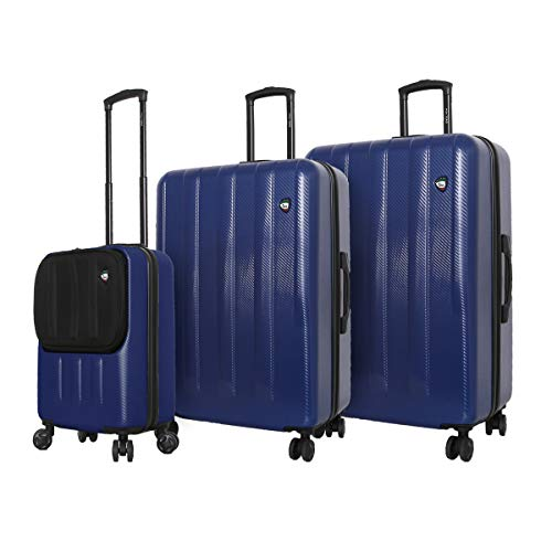 Find Bargain Mia Toro Italy Reggia Hard Side Spinner Luggage 3 Piece Set, Blue, One Size
