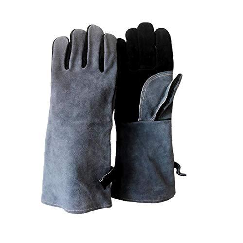 Nicetruc Kuh-Leder-Grill-Handschuhe Schweißgrill Handschuhe Hitzebeständig Leder Grill-handschuh Mit Langarm Und Insulated Baumwolle Futter Für Outdoor Schwarz Grau 1 Paar