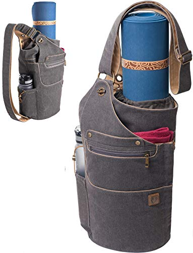 WRASCO Yoga Mat Bag Canvas Casual Yoga Backpack Convertible Yoga Mat Tote Sling Carrier - Fits Most Mat Sizes - Yoga Bags and Carriers for Women & Men - Gift 2 Elastic Straps (Grey)