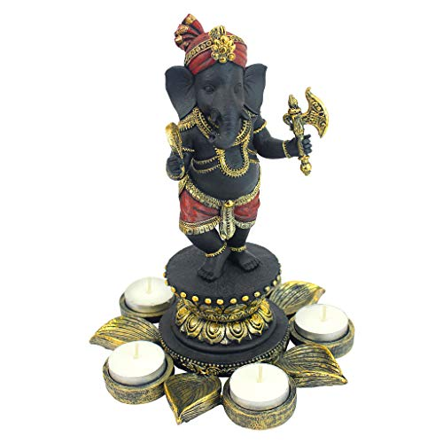 Design Toscano QS29200 Standing Lord Ganesha on Lotus Flower Hindu Elephant God Statue Candle Holder, 10 Inch, Black, Red and Gold