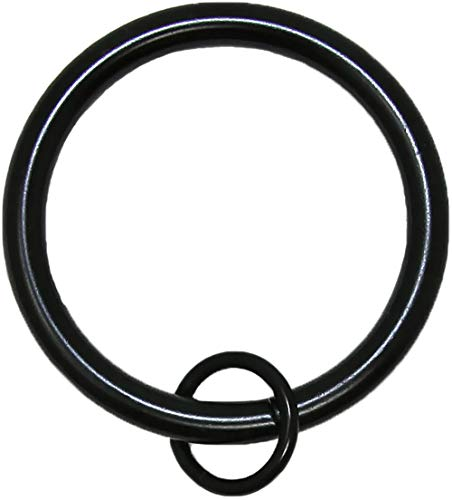 """Urbanest Solid Metal Window Drapery Curtain Panel Ring with Eyelet, 1.5"""" Inner Diameter, Fits Up to 1.25"""" Rod, Set of 28 - Black"""