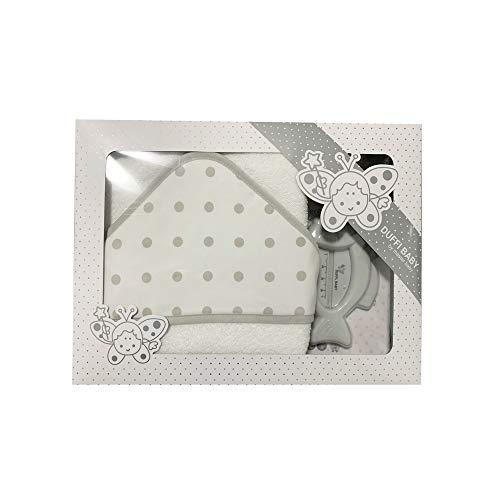 Duffi Baby 0930-11 - Maxicapa de baño bordada 100x100 cm. + termómetro, gris, unisex