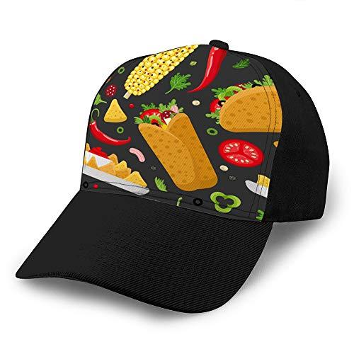 Vintage Denim Cap Hat Verstellbarer Sport Trucker Baseball Hut Mexikanische Lebensmittelfarbe nahtloses Muster Hip Hop Hut