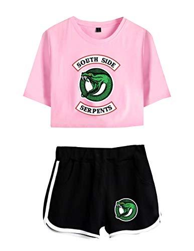 Camiseta y Pantalón Corto Riverdale Adolescente Chica Serpientes Camiseta de Manga Corta Verano Conjunto Deportivo para Niña y Mujere (7, M)