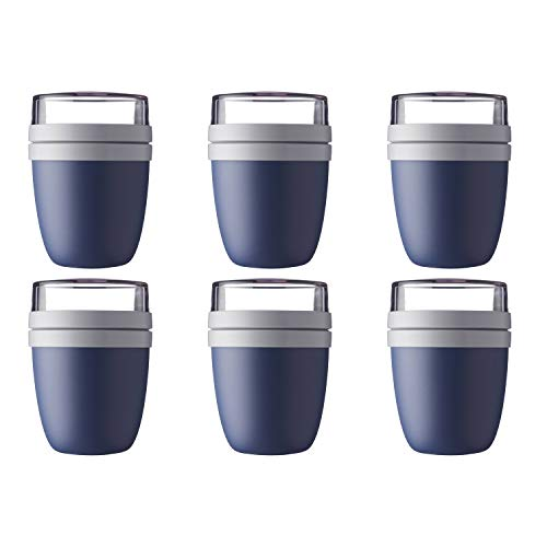 Mepal 107648016800 Ellipse Lunchpot to go 500 ml & 200 ml, nordic denim (6er Pack)
